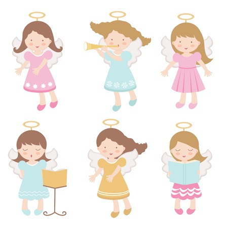 A colorful set of adorable little angels Stock Vector - 17593808