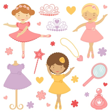 A Cute collection of little dancing ballerinas  Illustration