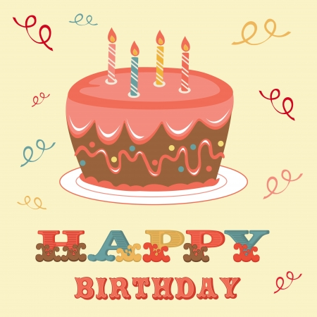 happy birthday candles: An illustration of a Birthday card with cake