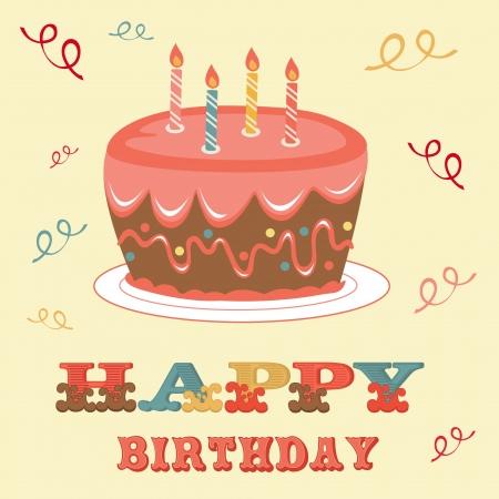 auguri di buon compleanno: L'illustrazione di una carta di compleanno con torta Vettoriali