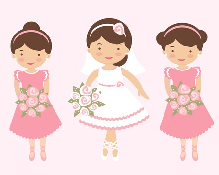 An illustration of Beautiful bride with two bridesmaids Illustration