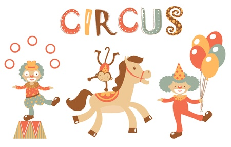 A colorful circus performance set Vector