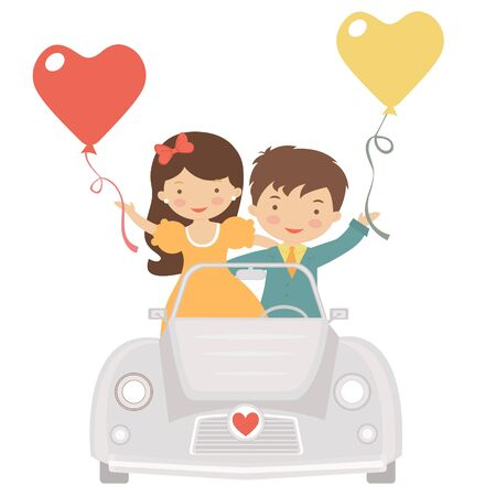 An illustration of Cute couple driving at Valentines day Stock Vector - 17593779