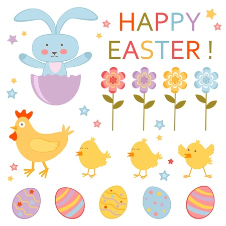 A cute colorful Easter collection Vector