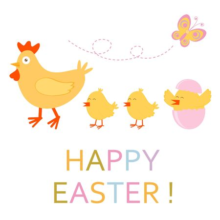 Cute Easter card with chicken and chicks Stock Vector - 17593778