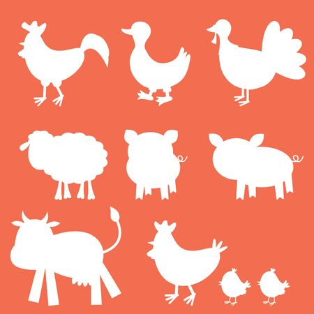 Farm animals silhouettes collection Vector