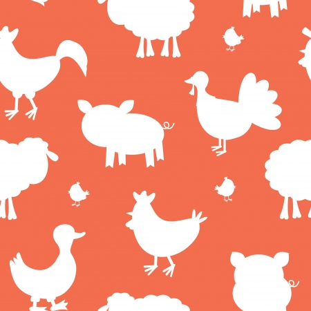 Farm animals silhouettes seamless pattern Stock Vector - 17593777