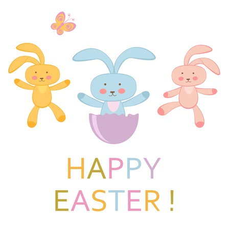 Happy Easter greeting card with Easter bunnies Stock Vector - 17593776