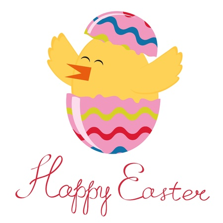 Happy Easter greeting card with hatching chick Stock Vector - 17593793