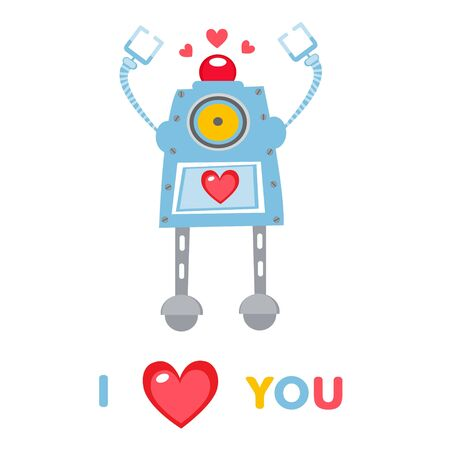An illustration of cute Love robot Stock Vector - 17593772