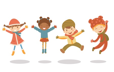An illustration of jumping kids in winter Vector