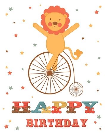 Cute Birthday card with lion on wheel Vector