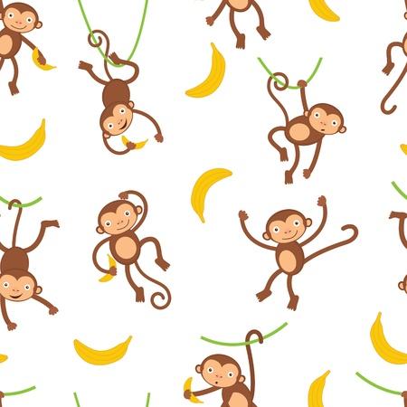 banana caricatura: Un monos lindos patr�n transparente