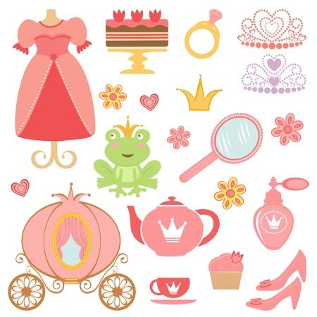 carriage: Carino raccolta di icone relative principessa Vettoriali
