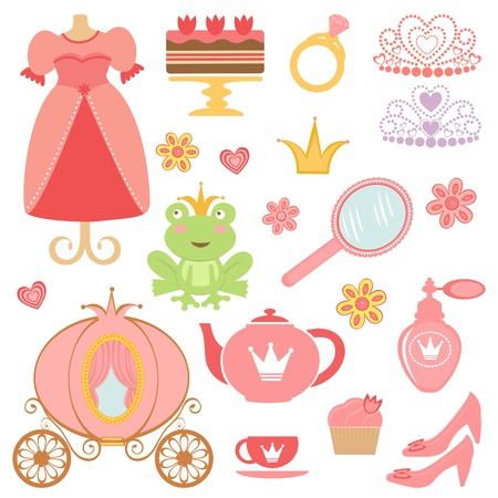 Cute collection of princess related icons  Vector