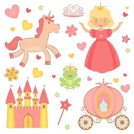 A cute collection of princess related icons Illustration