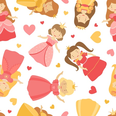 A cute princesses  seamless pattern Stock Vector - 17593807