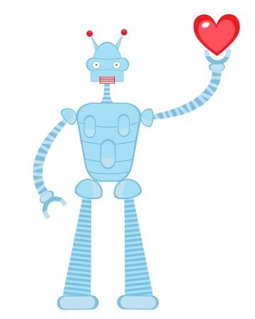 Cute robot in love holding heart Stock Vector - 17593773