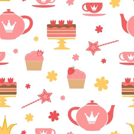 tea party: A cute royal tea party seamless pattern Illustration