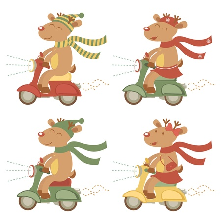 An illustration of deers on scooters Stock Vector - 17593801