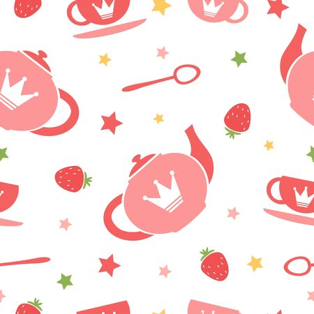 A cute tea party seamless background Stock Vector - 17593791