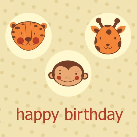 Animal faces happy birthday card. Vector format Stock Vector - 17710679