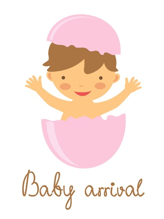 Cute baby arrival announcement card with hatching baby Vector