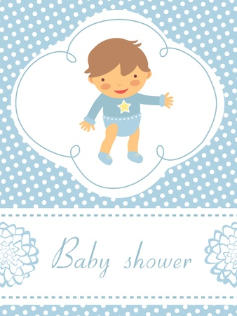 An elegant baby shower card with cute baby boy Stock Vector - 17710731