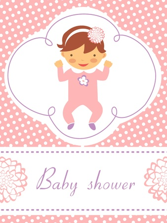 An elegant baby shower card with cute baby girl Vector