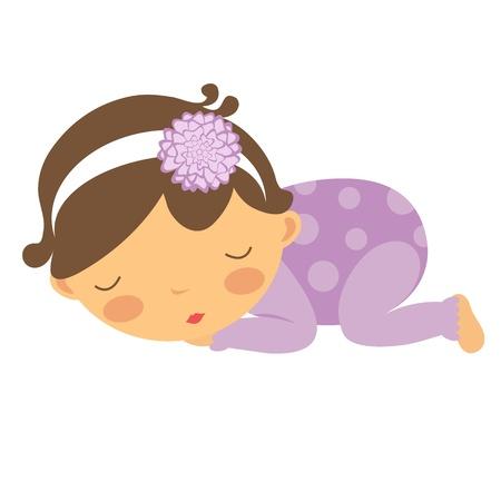 Una ilustración de slleping linda niña recién nacida