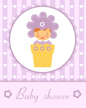 Cute baby in flower pot. New baby arrival card. Vector format. Vector