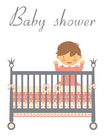 baby bed: Baby shower card with baby in bed. Vector format.