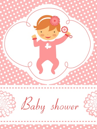 An elegant baby shower card with baby girl  holding rattle Stock Vector - 17710713