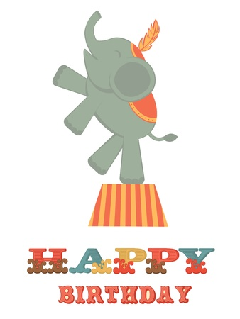 Cute Birthday card with elephant Vector