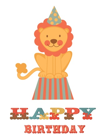 Cute happy birthday card with lion Vector
