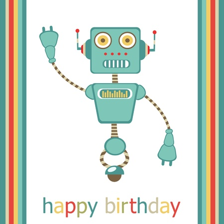 Happy birthday card with  cute robot Stock Vector - 17710680