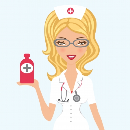 An illustration of a Beautiful doctor holding medicine Vector