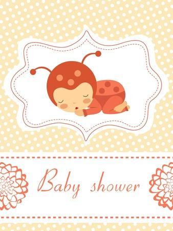 marienkäfer: Ein elegantes Baby-Dusche-Karte mit Baby-Marienk�fer M�dchen schl�ft Illustration
