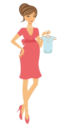 bodysuit: An illustration of chick pregnant woman holding bodysuit for her baby. vector format. Illustration