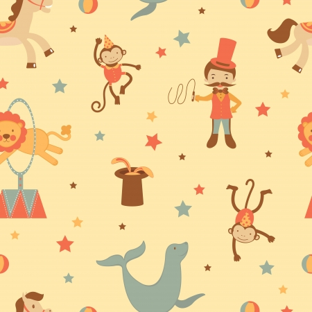dancing monkeys: A colorful circus seamless background
