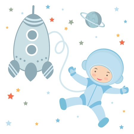 An illustration of Cute little astronaut in outer space Vector