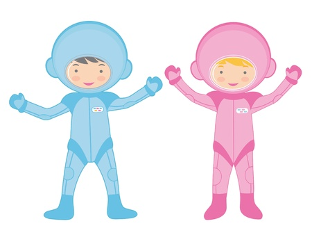 An illustration of Two little astronauts Stock Vector - 17710690