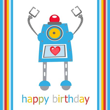 Birthday card with funny robot Vector