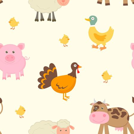 Cute farm seamless pattern Vector