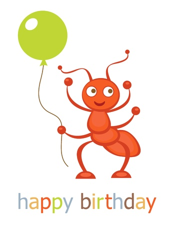 design design elemnt: Happy birthday card with ant holding balloon Illustration