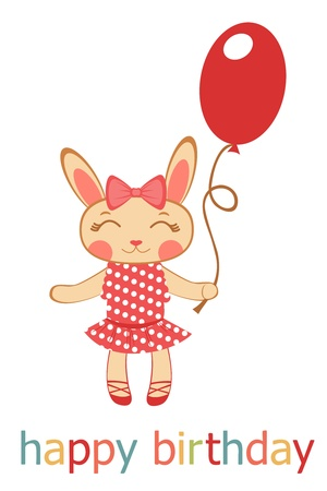 Cute Birthday card with bunny girl holding balloon Vector