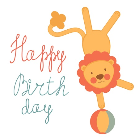 A Cute birthday card with circus lion Vector