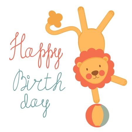 acrobat: A Cute birthday card with circus lion