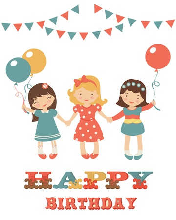 design design elemnt: Birthday card with cute little girls. vector format