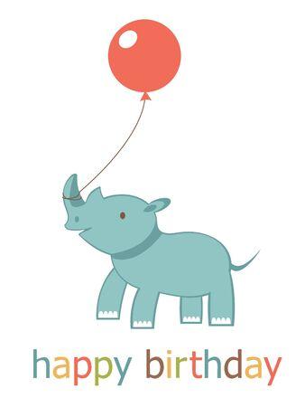 design design elemnt: Happy birthday card with rhinoceros. Vector format Illustration